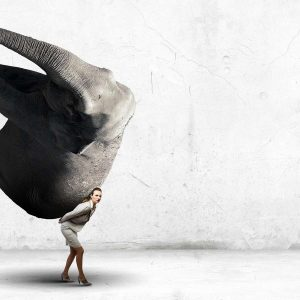 Gelassenheit lernen: Gestresste Frau trägt Elefanten auf dem Rücken