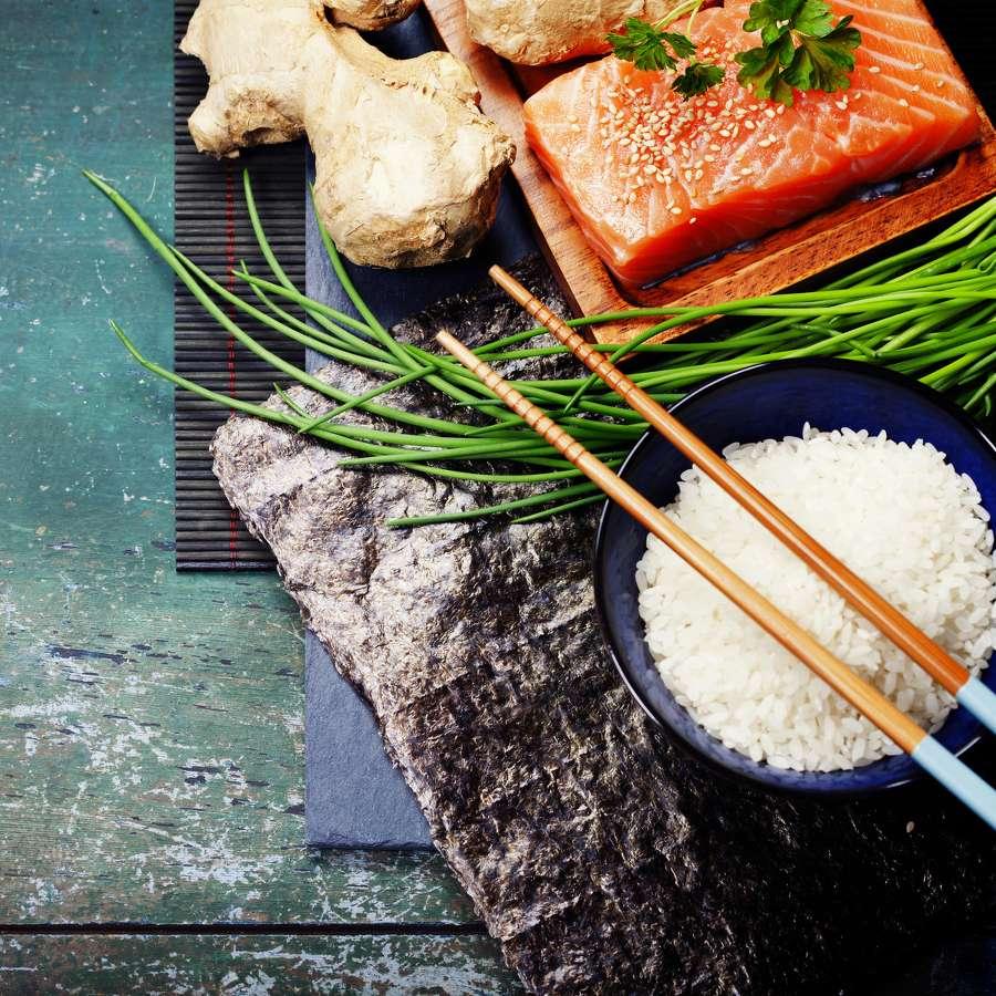 Fisch und Fleisch Rezepte wie Sushi