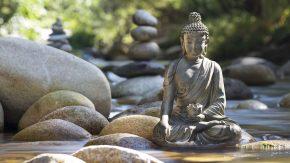Eine Buddhastatue in einem Meditationszentrum