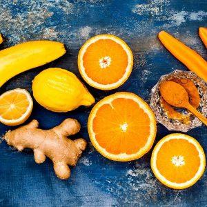 Gelbe Lebensmittel für das Nabel Chakra